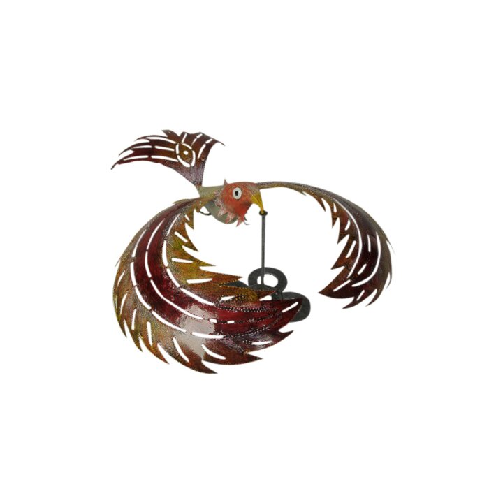 Bali Garden Colourful Metal Kinetic Balancing Bird Garden Statue