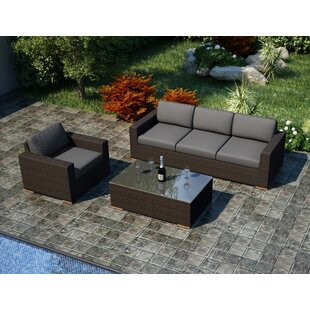 Harmonia Living Arden 3 Piece Teak Sofa Set with Sunbrella Cushions
