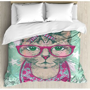 East Urban Home Cat Fashion in Hipster Glasses and Lace Collarette Bow Vintage Humor Graphic Duvet Set