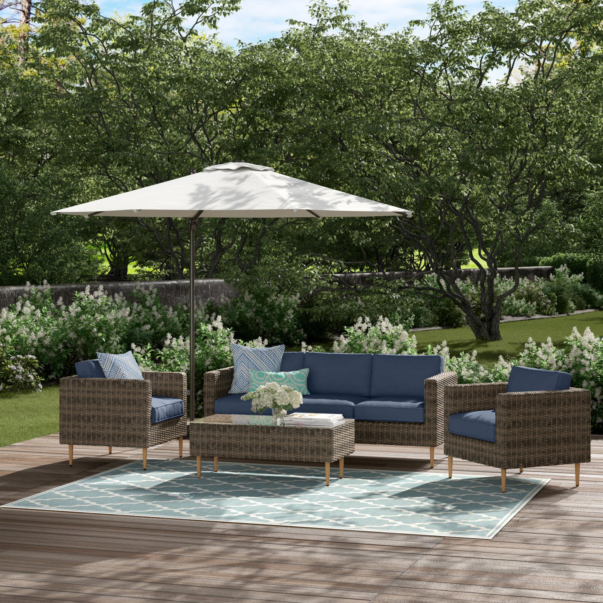 Rowley 4 Piece Rattan Sofa Seating Group With Cushions Reviews Joss Main