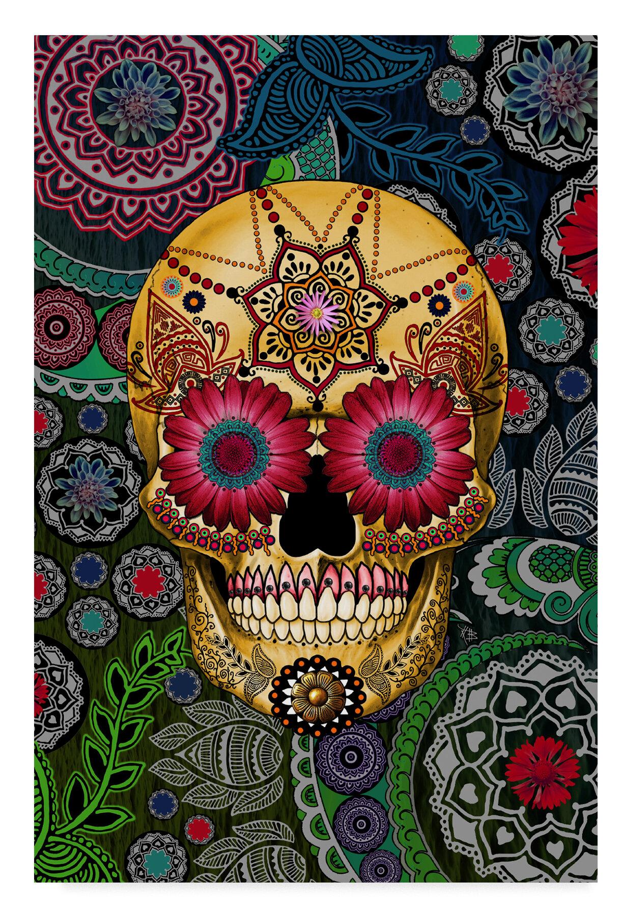 Trademark Art Sugar Skull Paisley Garden Acrylic Painting Print On Wrapped Canvas Wayfair