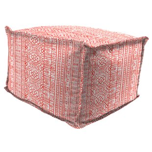 Cuellar Flange Edge Pouf Ottoman with Cushion by Bungalow Rose