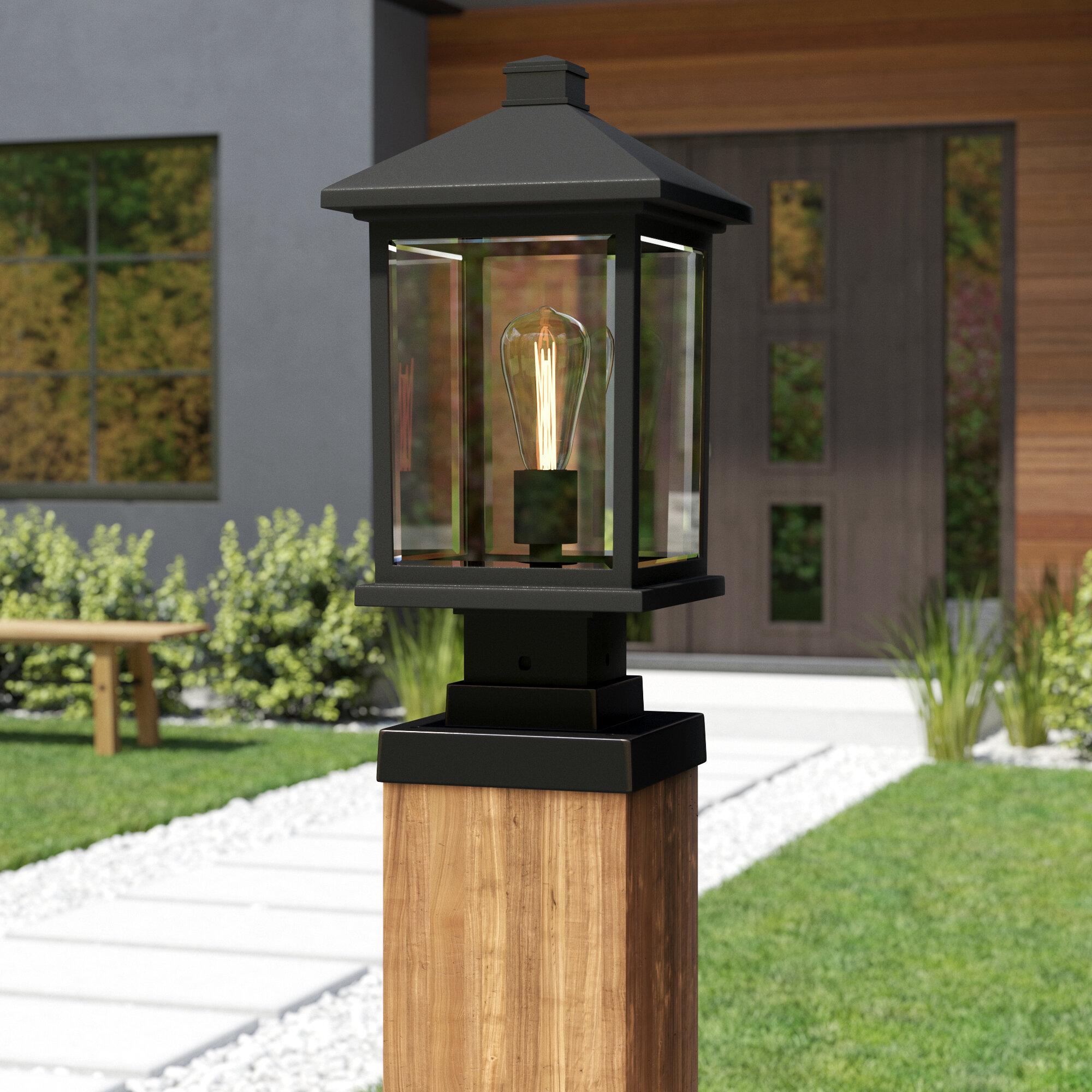 Sol 72 Outdoor Lovette Outdoor 1 Light Glass Shade Pier Mount Light Reviews Wayfair