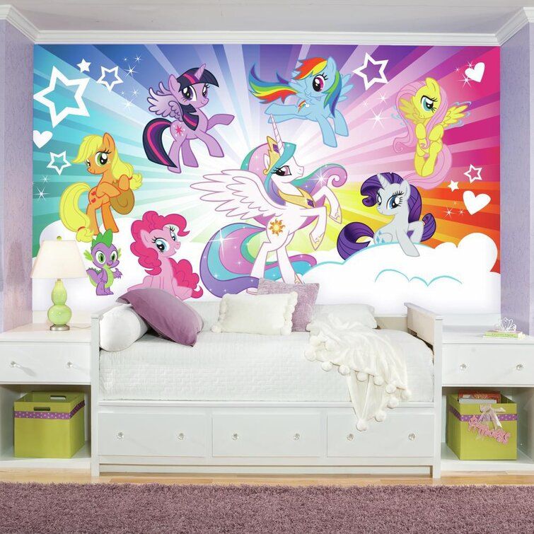 """Prepasted My Little Pony Cloud XL Chair Rail Ultra-Strippable 11.11 L x 11""""  W Wall Mural"""