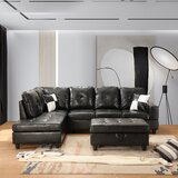 Carkin 103.5 Faux Leather Sofa & Chaise with Ottoman by Latitude Run®