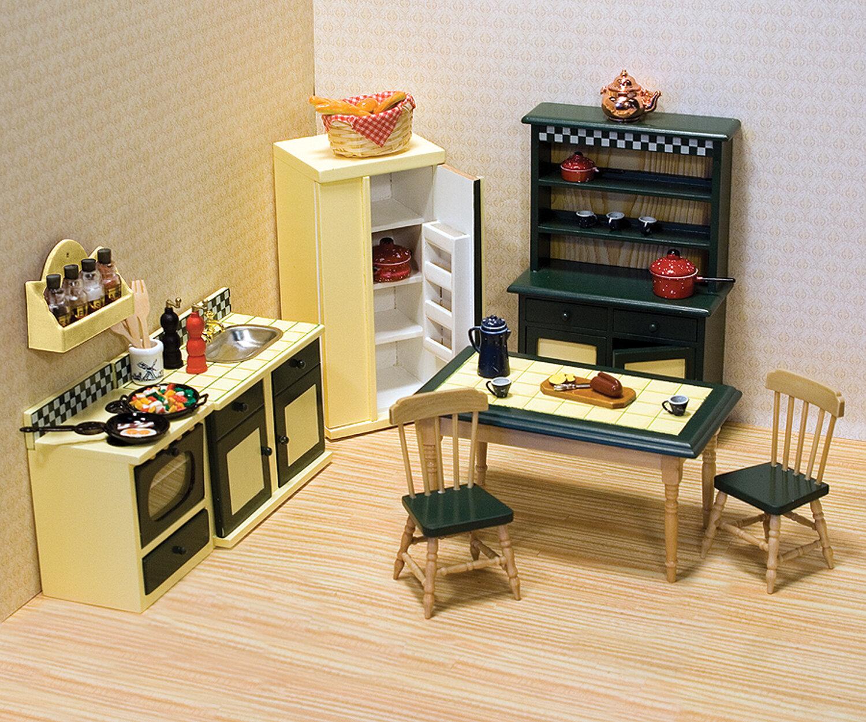 Latest 2018 Wooden Furniture Dolls House Kitchen Set Miniature No Dolls