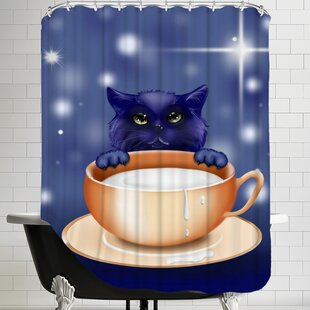 East Urban Home Fantasy Kitten Cat Shower Curtain