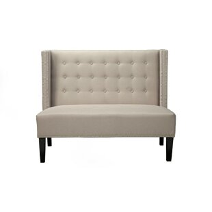 Adames Nailhead Trim Button Tufted Back Upholstered Bench