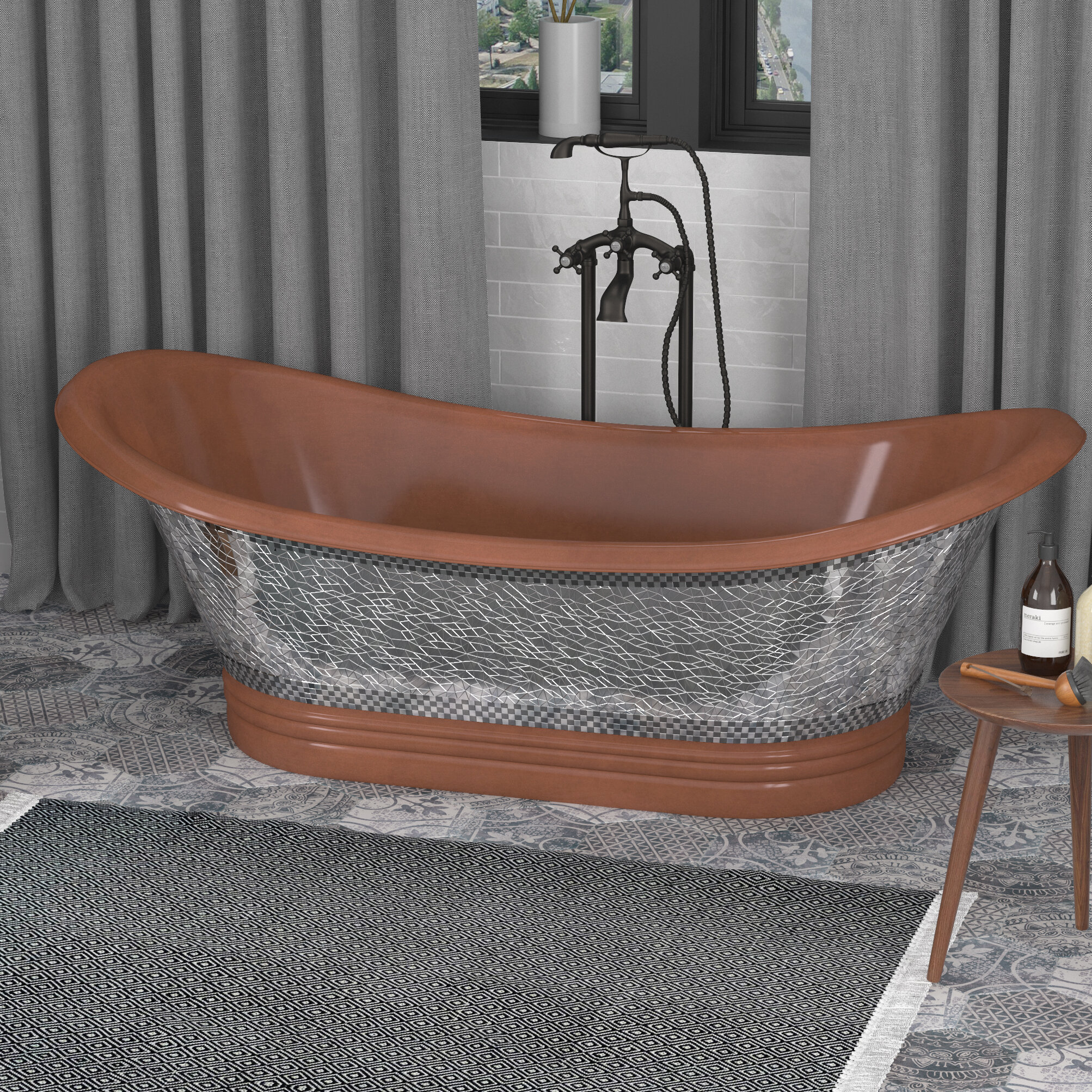 Picture of: Anzzi Theodosius 68 In Handmade Copper Double Slipper Freestanding Bathtub In Polished Antique Copper Wayfair Ca