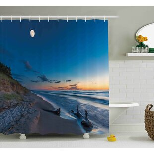 Lucy Nature Theme Driftwood on a Lake and The Moon Shower Curtain by Ebern Designs