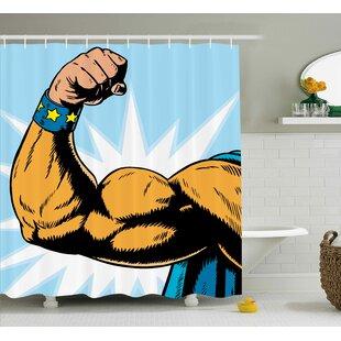 Wyona Comics Superhero Arm Flexing Muscles Powerful Fiction Character Cartoon Graphic Shower Curtain