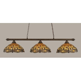 Red Barrel Studio Mendez 3-Light Dragonfly Tiffany Shade Billiard Light