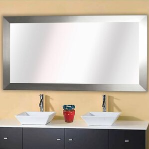 Hogge Modern Brushed Nickel Large Frame Wall Mirror