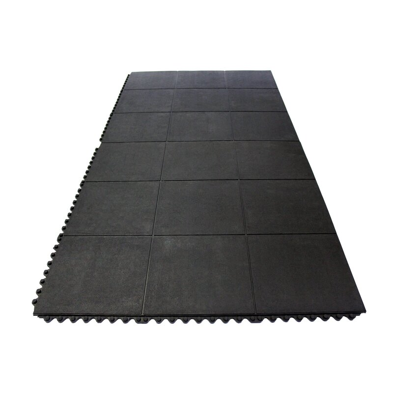 Envelor Home Heavy Duty Solid Rubber Garage Flooring Tiles In Black