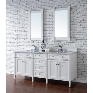 Deleon 72 Double Cottage White Wood Base Bathroom Vanity Set by Darby Home Co