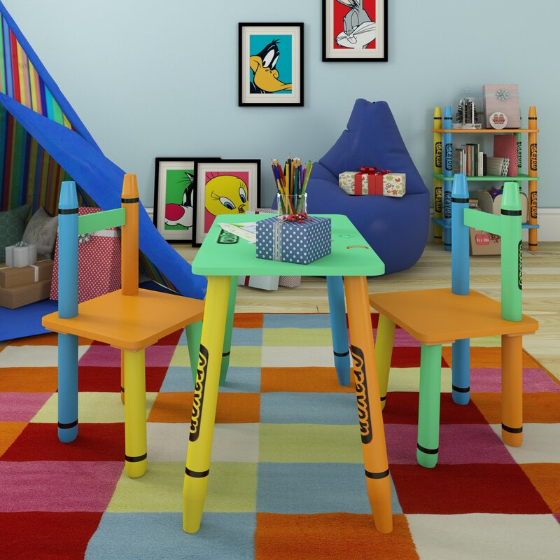 Crayola Kids Table /& Chairs 3PC Colourful Childrens Furniture SeT