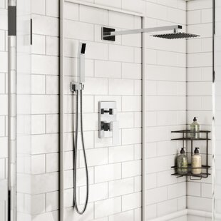 Rebrilliant Cahoon Diverter Complete Shower System with Square Rain Shower, Handheld Shower and Lever Handle