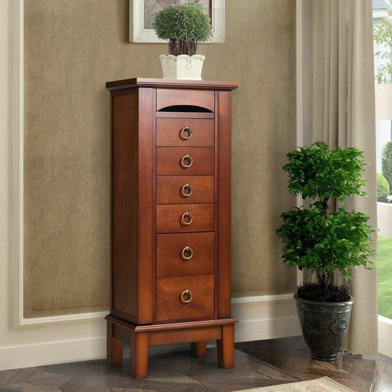Jewelry Armoire Box Wood Chest Ring Necklace Organizer Cabinet Mirror Walnut