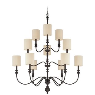 High-End Adao Golden Bronze 12-Light Shaded Chandelier By Darby Home Co
