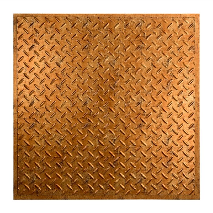 Diamond Plate Revealed Edge 2 Ft X 2 Ft Lay In Ceiling Tile In Muted Gold