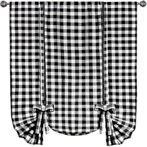 Haylee Tie-Up Plaid & Check Sheer Window scarf