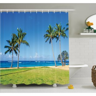 Tropical Coconut Palm Hawaii Shower Curtain Set by Ambesonne