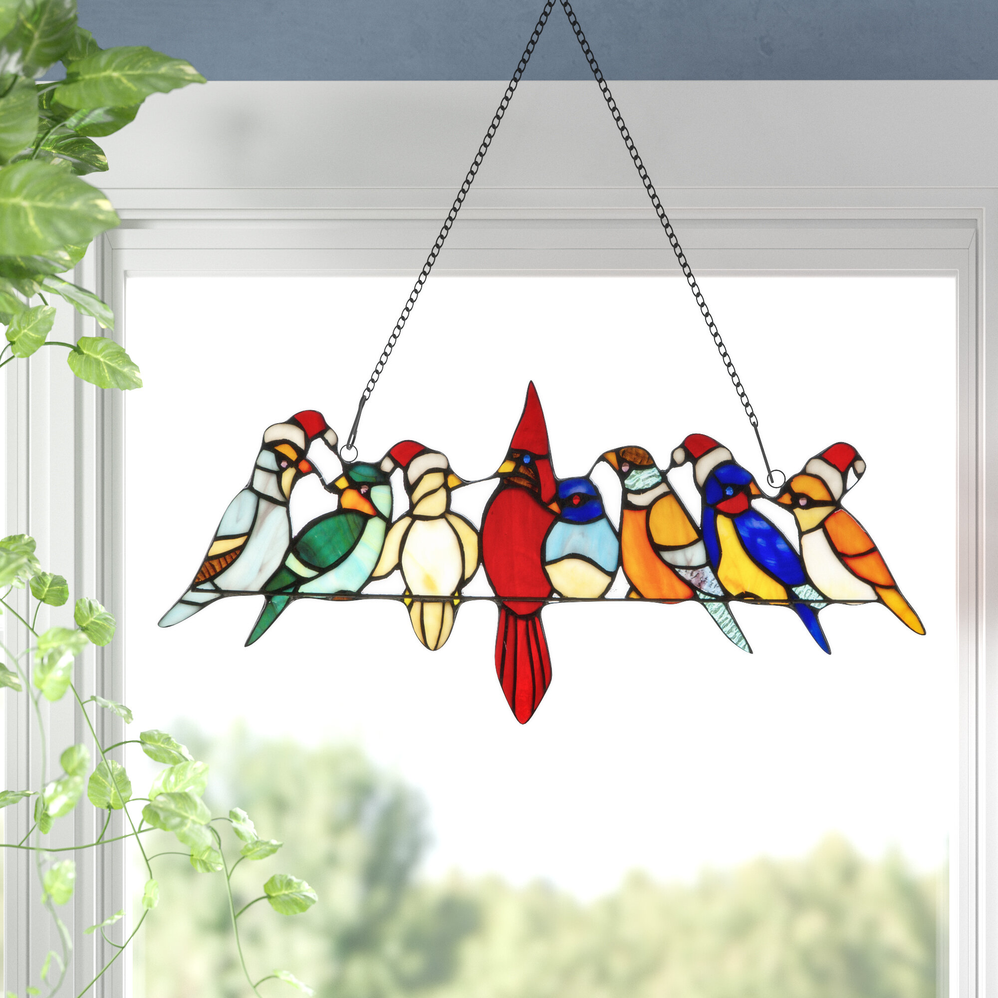 Charlton Home Santa Birds On Wire Stained Glass Window Panel Reviews Wayfair