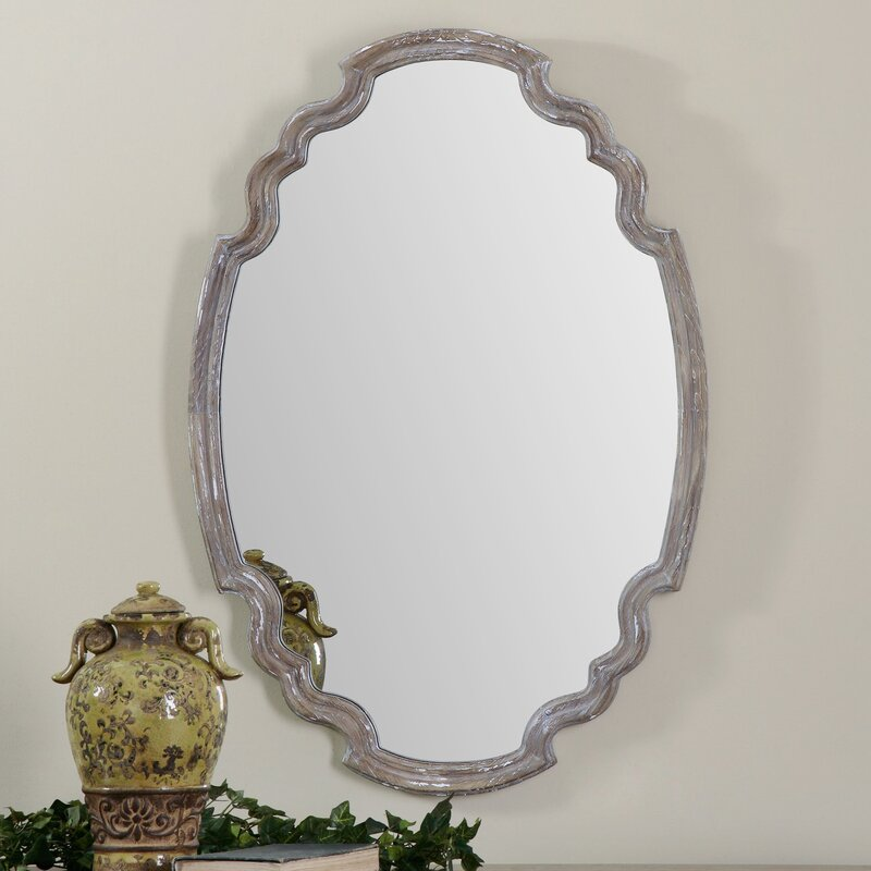 Alix Distressed Wood Accent Mirror