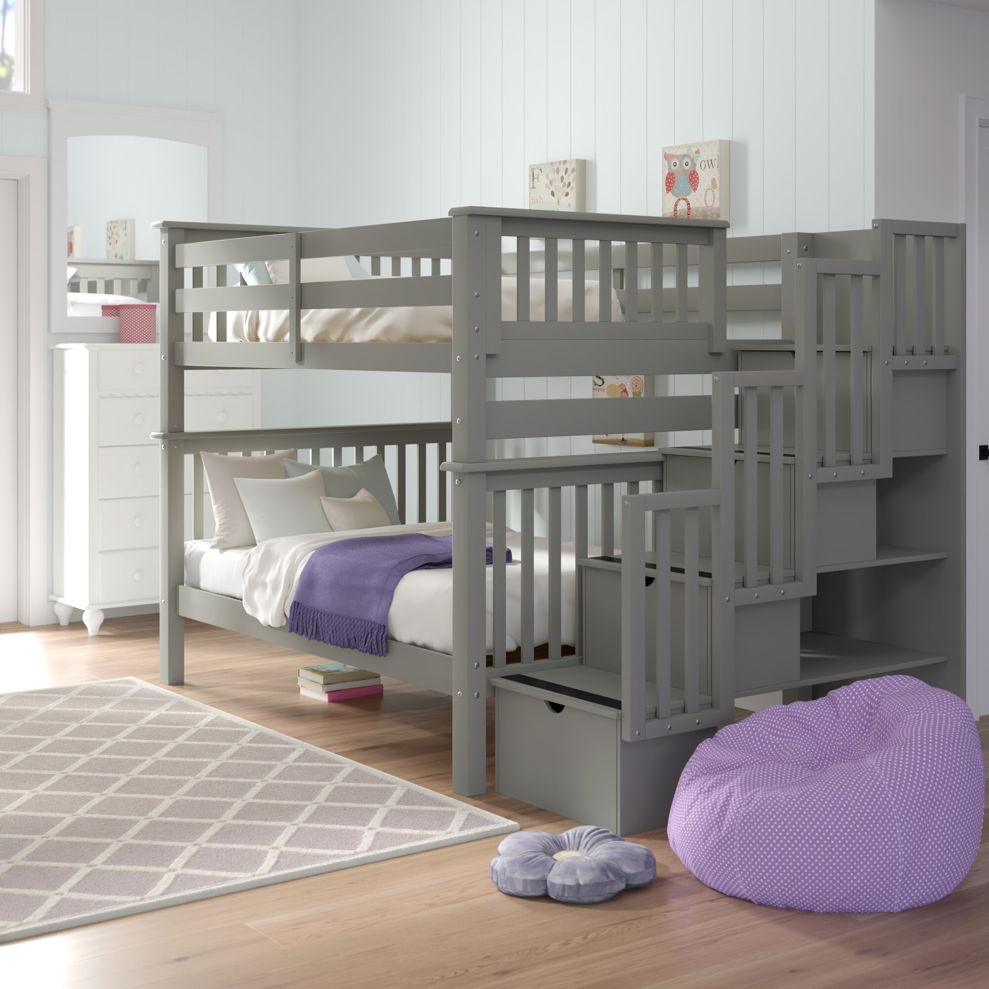 Harriet Bee Tena Full Over Full Bunk Bed With Shelves And 4 Drawers Reviews Wayfair