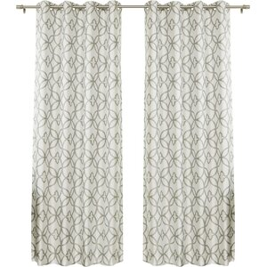 Trellis Geometric Blackout Thermal Grommet Single Curtain Panel
