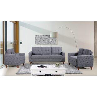 Ivy Bronx Harrad Tufted Mid-Century 3 Piece Living Room Set