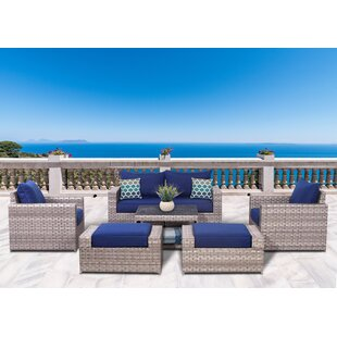 Longshore Tides Burkley 7 Piece Rattan Sectional Set with Cushions