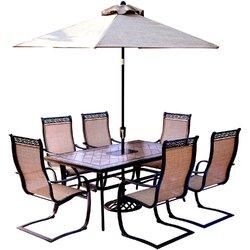 Superb Monaco 7 Piece Dining Set With Table Umbrella And Umbrella Stand