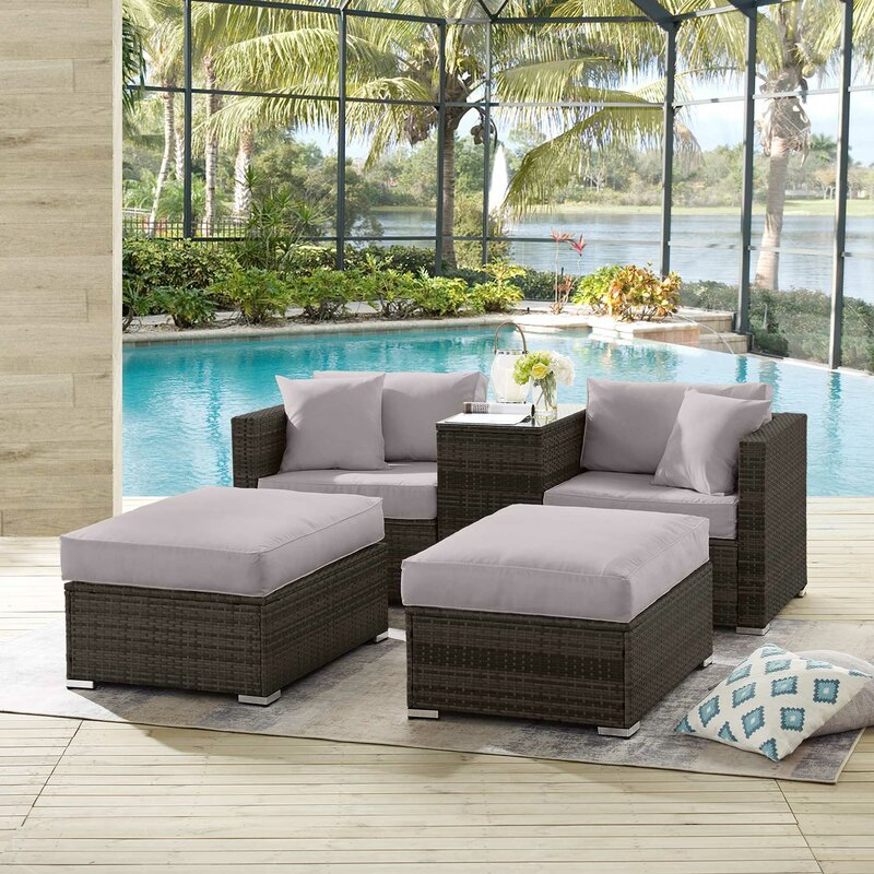 Rosecliff Heights Sweatman Outdoor 5 Piece Rattan Seating Group With Cushions Wayfair