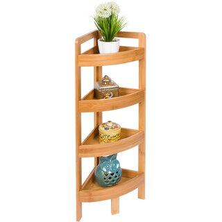 4 Tier Bamboo Storage Corner Bookcase by Rebrilliant SKU:AA300030 Description