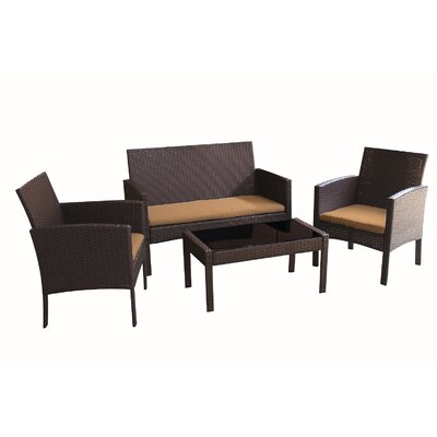 Tessio 4 Piece Rattan Sofa Seating Group with Cushions by World Menagerie