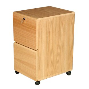 Modular Real Oak Wood Veneer 2-Drawer Mobile File Cabinet