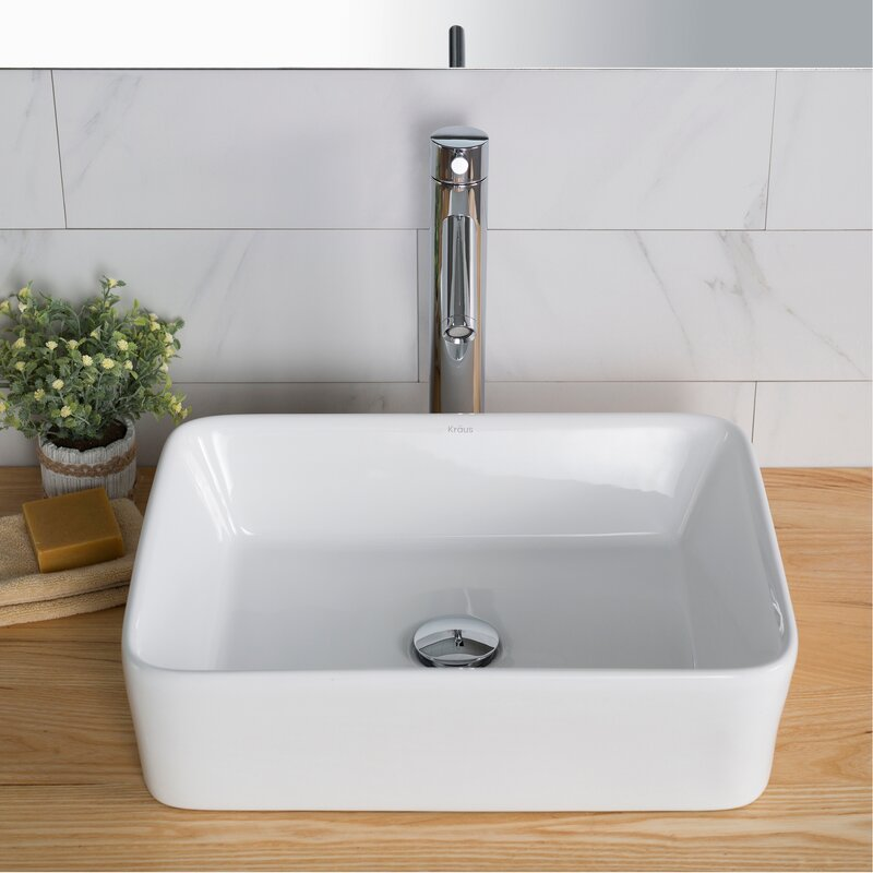 Elavo Ceramic Rectangular Vessel Bathroom Sink