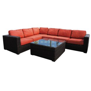 Santa Monica 5 piece Rattan Sectional Set with Sunbrella Cushions