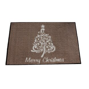 Clements Scroll Christmas Tree Brown/White Area Rug ByThe Holiday Aisle
