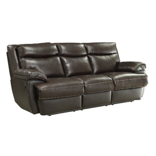 Hughes Leather Reclining Sofa Red Barrel Studio