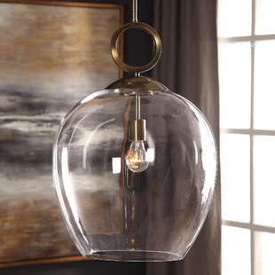 Mercer41 Entrada Large Blown Glass 1 -Light LED Bell Pendant