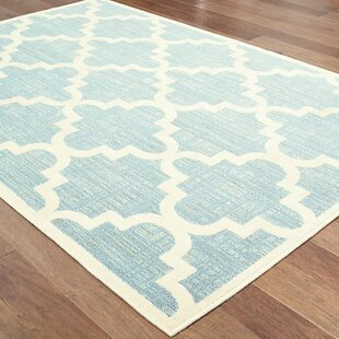 Salguero Lattice Blue/Ivory Indoor/Outdoor Area Rug