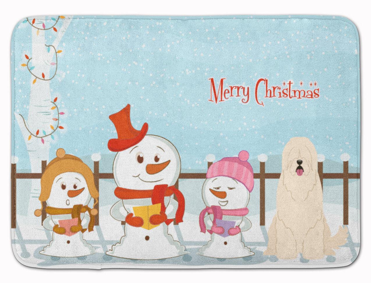 Merry Christmas In Russian.Merry Christmas South Russian Sheepdog Memory Foam Bath Rug