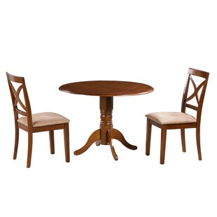 Devyn 3 Piece Drop Leaf Solid Wood Dining Set Alcott Hill