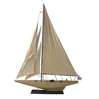 Rustic Intrepid Model Yacht Handcrafted Nautical Decor