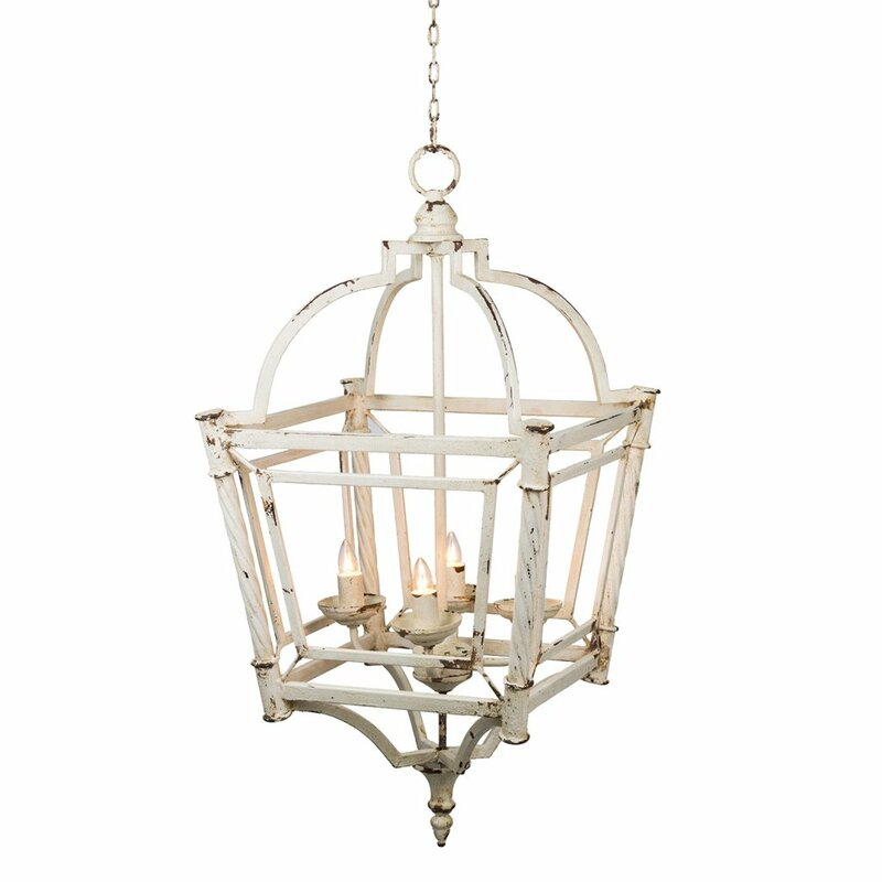 Galilea Classic Vintage Bird Cage 4-Light Lantern Chandelier