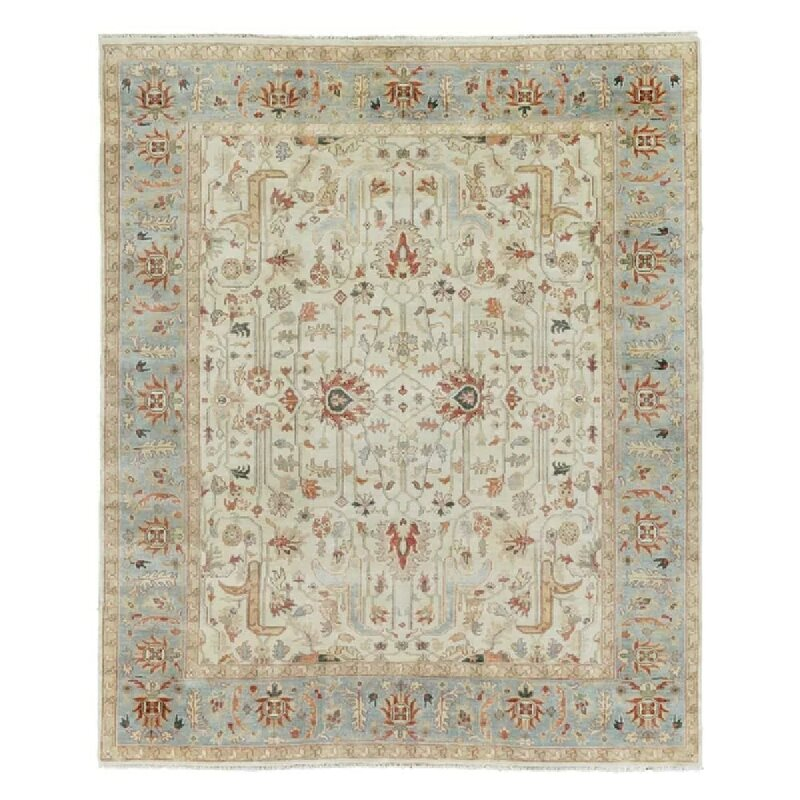 Exquisite Rugs Serapi Hand Knotted Wool Ivory Light Blue Area Rug Perigold