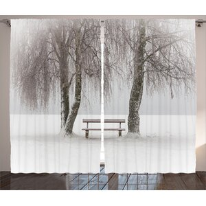 Nash Bench Decor Graphic Print Room Darkening Rod Pocket Curtain Panels (Set of 2)