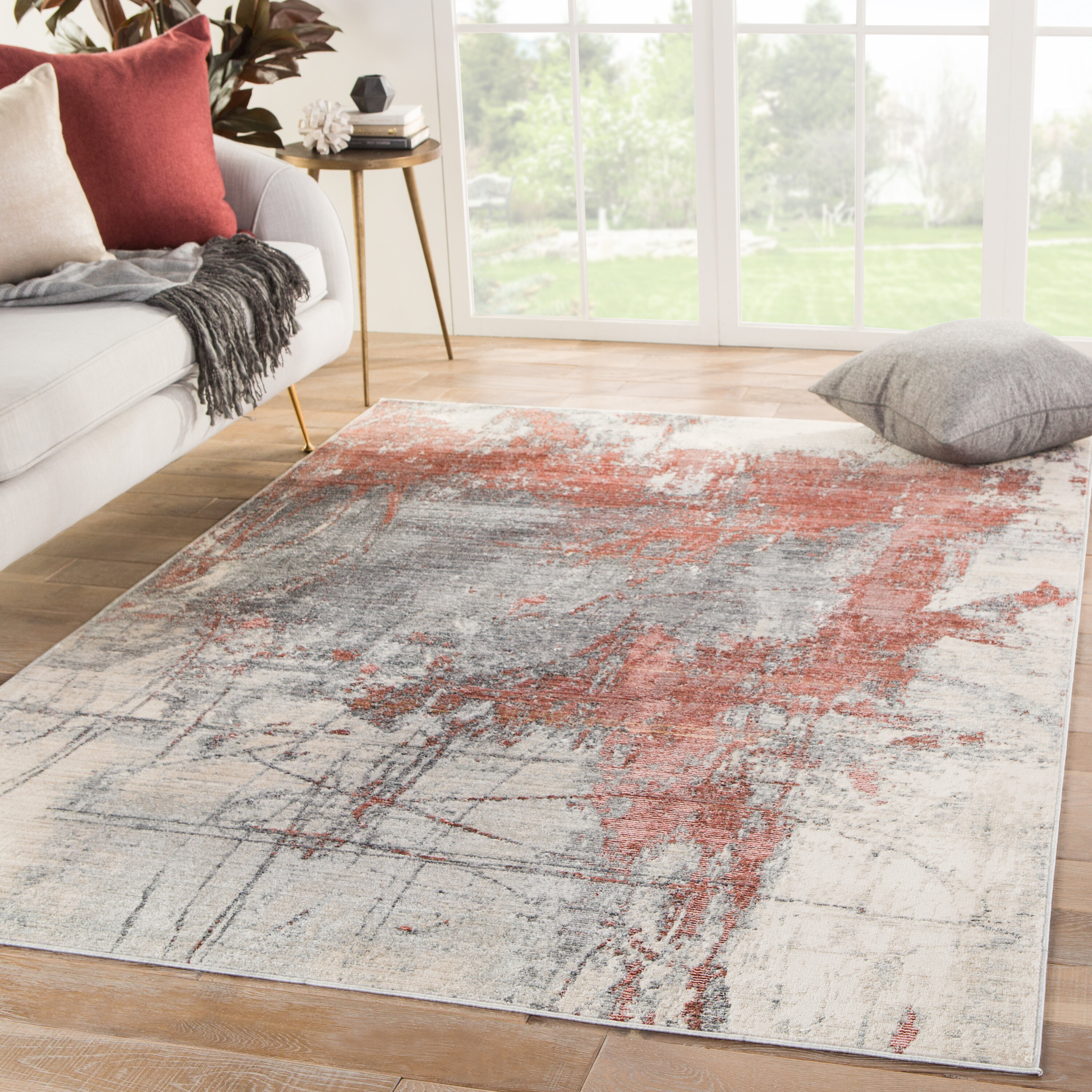 Williston Forge Isaac Abstract Gray Red Beige Area Rug Reviews Wayfair